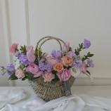 [부산당일꽃바구니]12월~4월꽃바구니 스톡 라넌 튤립 …