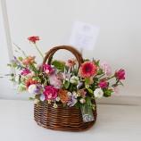 [부산/양산/김해꽃배달]오렌지자주 수입꽃바구니10호