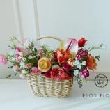 [부산당일꽃배달]핑크 오렌지 대비컬러 꽃바구니8호(4…